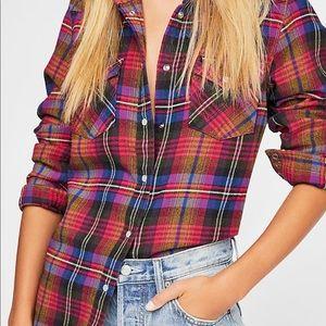 NWT Wrangler x Free People western flannel shirt